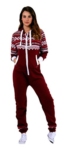 SKYLINEWEARS Womens Onesie Fashion Playsuit Ladies Jumpsuit Aztec Burgundy -