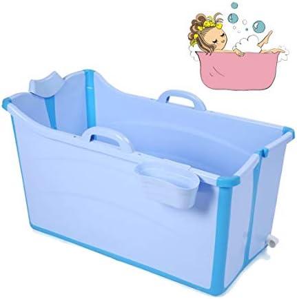 折りたたみバスタブ GYF 折りたたみ大人用浴槽 ポータブルプラスチック浴槽 座るカバー付き ホームアダルト 子供用入浴浴槽ベビースイミングビッグタブ 2色ポータブル大型プラスチック製浴槽 (Color : Blue)