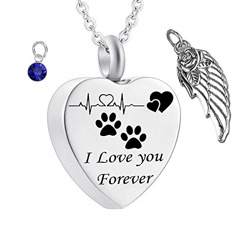 (misyou Charms Urn Necklace for Ashes Pet Dog Paw Prints Heart Necklace Stainless Steel Birthstone Keepsake Memorial Cremation Jewelry (September))