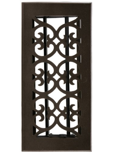 Solid Bronze Scroll Vent Louvered Floor Register With Dark Distressed Finish Heat Register Covers.