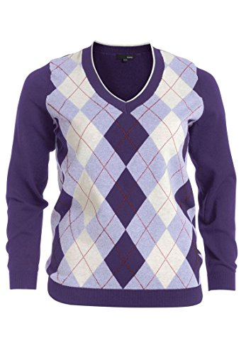 Cashmere Argyle Sweater (Ellos Women's Plus Size Sweater In Soft Cotton With Argyle Pattern)
