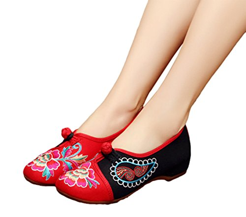 tchwork Embroidery Casual Loafer Walking Shoes, Red, 39 (Patchwork Flat Shoes)