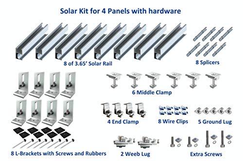 Uisolar Solar Panel Mounting Kit Rails for 4 Full Size Panels up to 350W (Solar Panel Roof Mounting)