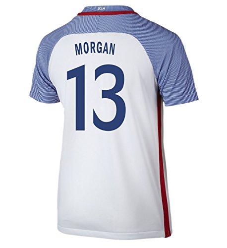 (Nike Morgan #13 USA Home Soccer Jersey Rio 2016 Olympics Youth. (YXS) White)