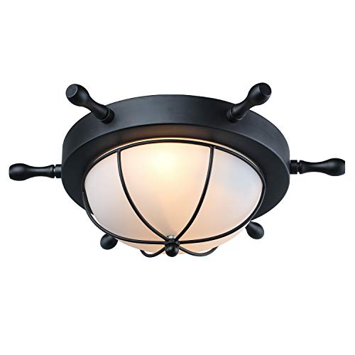 LNC Flush Mount Ceiling Light Farmhouse Nautical Style with Black Finish and Frosted Glass, for Bedroom and Hallway, A03196