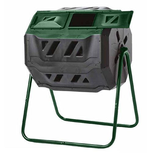 Exaco Trading Company Exaco Mr.Spin Compost Tumbler - 160 Liters / 43 Gallon, Dual Chamber Composter On Two-Leg Stand