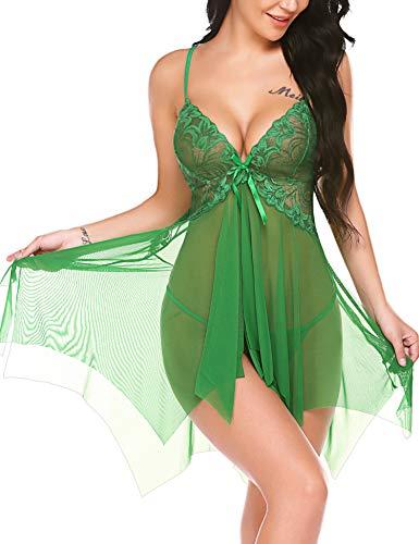 Avidlove Green Christmas Lingerie for Women Santa Clause Lingerie Negligee Babydoll