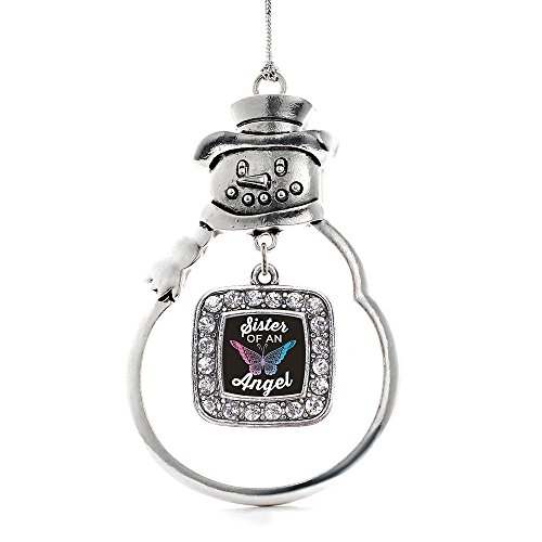 Snowman Angel Ornament (Inspired Silver - Sister of an Angel Charm Ornament - Silver Square Charm Snowman Ornament with Cubic Zirconia Jewelry)