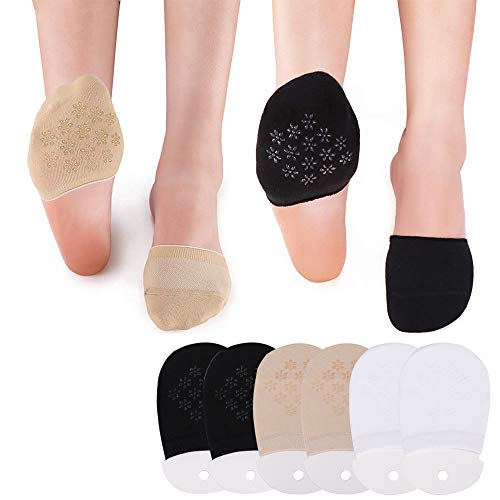 - No Show Socks for Women Ultra Low Cut Casual Cotton Non Slip Invisible Flat Boat Liner Thin Socks (2Black+2White+2Skin (Half))