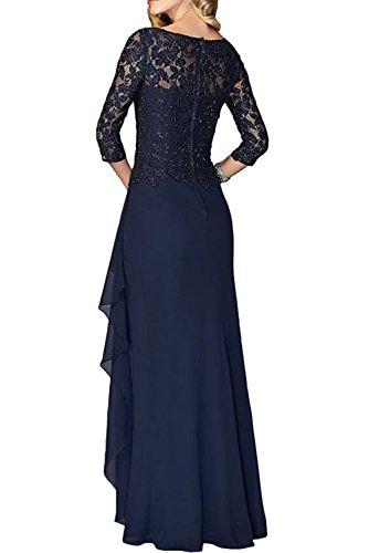 La_Marie Braut Elegant Spitze Langarm Abendkleider Brautmutterkleider Festlichkleider Chiffon A-linie Rock Gelb 82dc14nA5