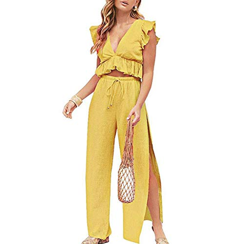 - LYN Star ◈ Womens Two Pieces Set Outfits Deep V Neck Crop Top Side Slit Drawstring Wide Leg Pants Set Jumpsuits Yellow