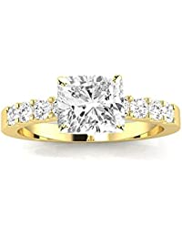 2 Carat GIA Certified Cushion-Cut Classic Prong Set Diamond Engagement Ring (G-H Color VS1-VS2 Clarity Center Stones)