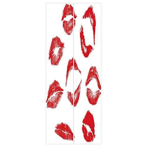 VAMIX Wallpaper Stickers [ Kiss,Various Different Kiss Marks in Red Woman Seduction Lipstick Trace Worn Grunge Look,Red White ] Mural Door Wall Stickers Wallpaper Mural DIY Home Decor ()