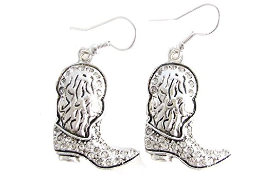 Western Boot Clear Crystals French Hook Earrings Jewelry