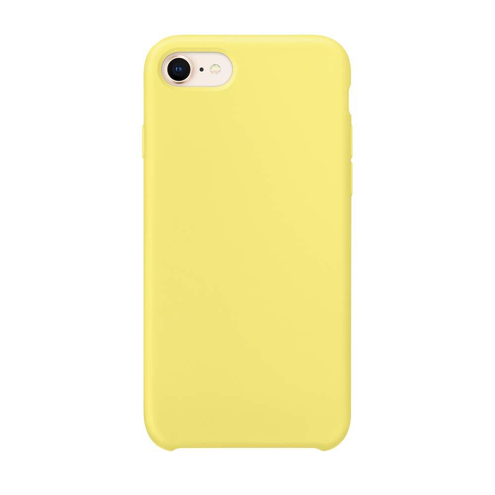 SURPHY iPhone 7 Funda, iPhone 8 Funda, Ultra Suave 4.7 Pulgadas Case Lí quido de Silicona Gel iPhone 7/8 Slim Fit Suave con Forro de Gamuza de Microfibra Suave Cojí n, Amarillo