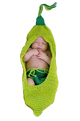 Ufraky Baby Infant Newborn Photography Prop Green Pea Sleeping Bag Hat Shorts Costume Outfit Set ()