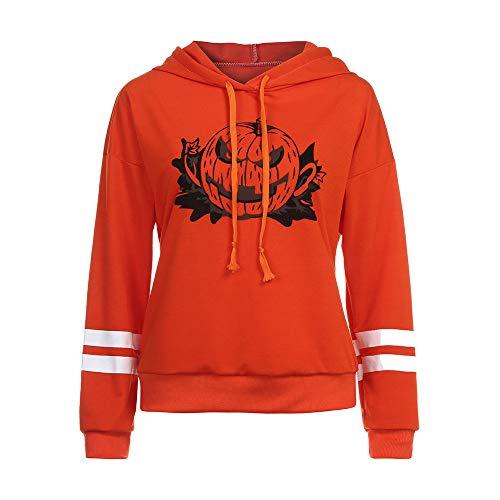 TWGONE Women Halloween Long Sleeve Hoodie Sweatshirt Jumper Hooded Pullover Blouse Pumpkin Printing Tops (US-8/CN-M,Orange)