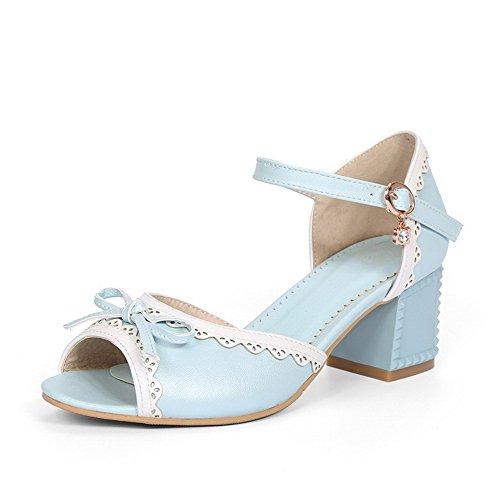 VogueZone009 Damen Offener Zehe Schnalle PU Leder Gemischte Farbe Mittler Absatz Sandalen Blau