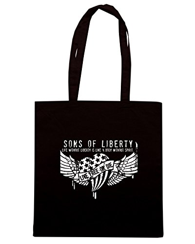 T-Shirtshock - Bolsa para la compra TM0613 life without liberty is like a body without spirit Negro