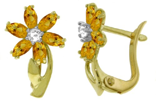 14k Solid Gold Citrine Flower French Clip Earrings with Diamond - Clip Citrine