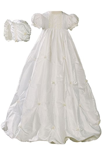 Little Things Mean A Lot 100% Silk Girls Bubble Dress Christening Gown Baptism Gown with Natural Venise Lace 6M