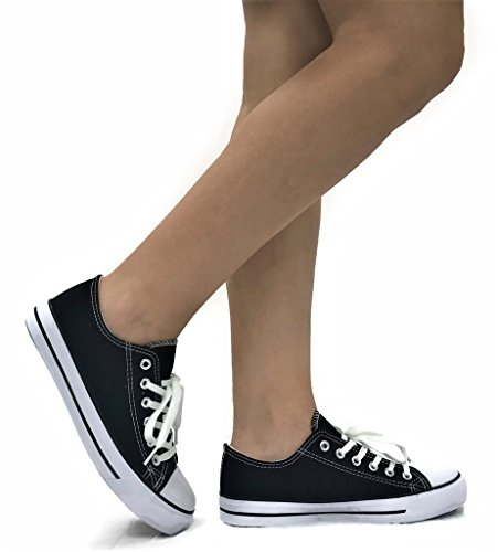 The Collection TAYLOR Womens Canvas Lo-Top Sneakers Sports Shoes, Black White, 8