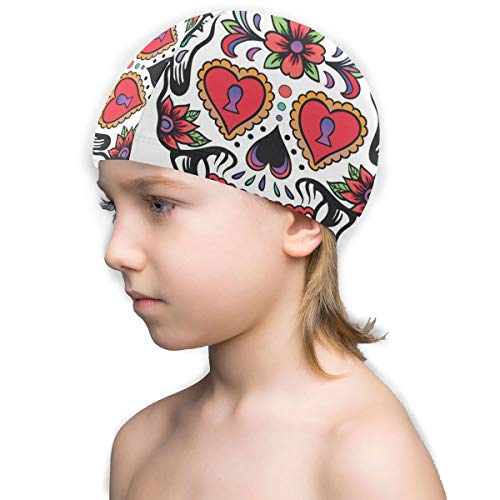 fa4505577 Fun Swim Cap,Mexican Skull No-Slip Swimming Hat Comfortable Fit for Youth  Kids