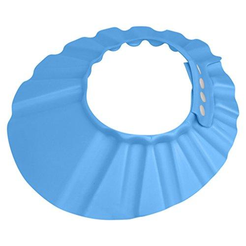 (Evelots Shampoo Bath Cap Baby/Child-Safe Visor Protector-Adjustable-Blue or Pink)
