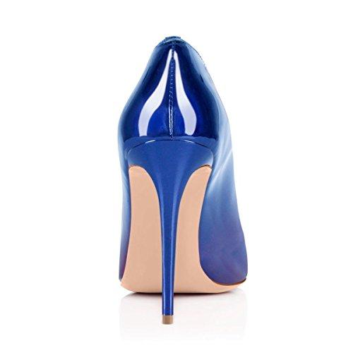 uBeauty Runde Zehen High Heels 12 cm Pumps Sexy Rote Sohle Stiletto Slip On Pumps Große Größe Pumps Blau-Violett