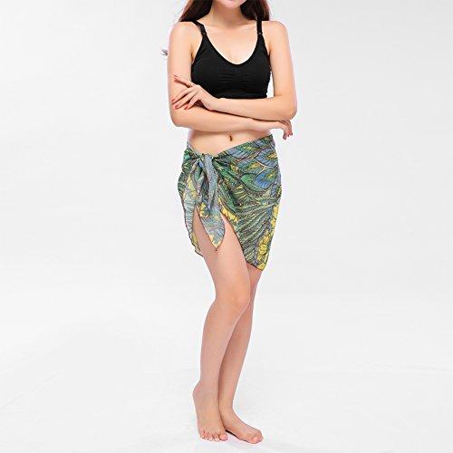 bikini chiffon con in 2 stampato donna da di Involucro bagno copertura da Sarong bikini sexy Yellow in 1xwqTY4n8n