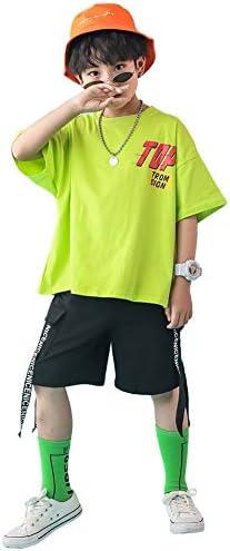 キッズ ヒップホップ ダンス衣装 女の子 男の子 かっこいい 2点セット ダンスウェア HIPHOP トップス パンツ ジャズダンス ステージ衣装 練習着 演出服 ジュニア お揃い 応援団 体操服 発表会 練習着 野球 運動着 (グリーン2点セット, 120)