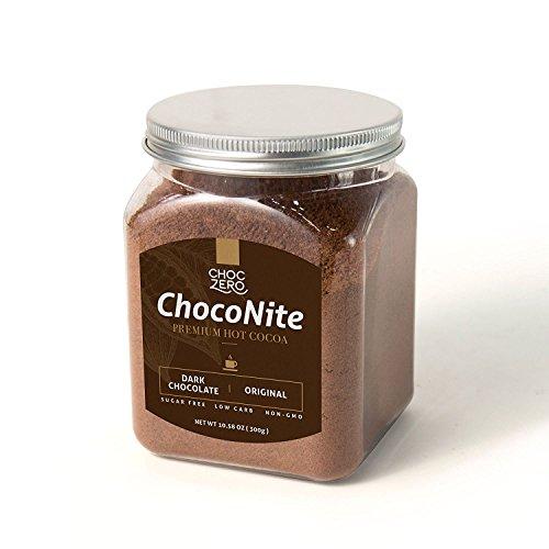 ChocZero's ChocoNite Premium Hot Cocoa. Dark Chocolate Original. Sugar free, Low Carb. All Natural, Non-GMO. Best Keto Drink