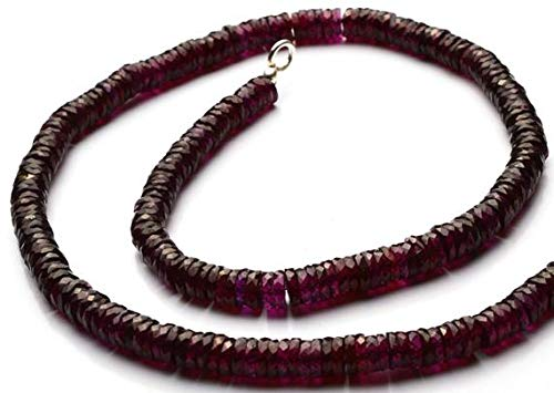 GemAbyss Beads Gemstone 1 Strand Natural Garnet 4.5MM Facet Rondelle Heishi Beads 16 Inch Code-MVG-11766