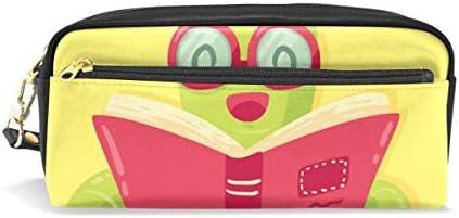 Divertido estuche para lápices, gusanos de libro, estuche para lápices, bolsa para artículos de papelería escolar, bolsa de maquillaje de viaje: Amazon.es: Oficina y papelería