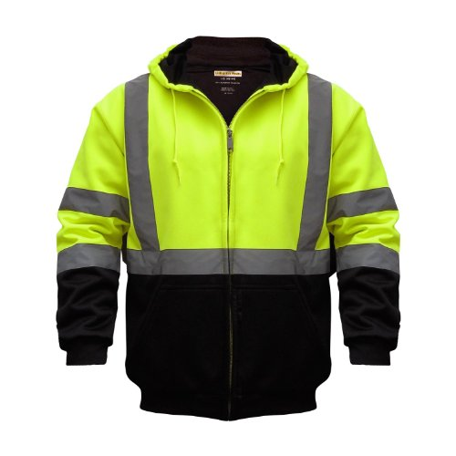 Utility Pro UHV425 Polyamide High-Vis Hooded Soft Shell Jacket with Side Pockets with Dupont Teflon fabric protector, Lime, Large 1