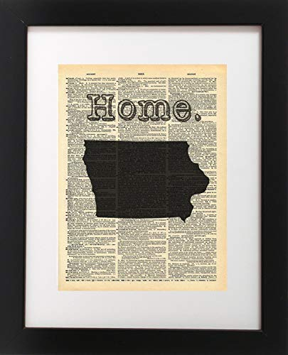 - Iowa State Vintage Map Vintage Dictionary Print 8x10 inch Home Vintage Art Abstract Prints Wall Art for Home Decor Wall Decorations For Living Room Bedroom Office Ready-to-Frame