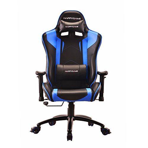 41rjsmboc9L - HappyGame-PC-Gaming-Chair-and-Racing-Sport-Chair-with-Pillow-Leather-Swivel-Executive-Office-Chair-Highback-Racing-Style-Desk-Leather-Office-ChairBlue-OS7502