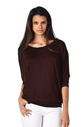 Jubilee Couture Women's Solid Color Dolman 3/4 Sleeve Pullover Tee Shirt Top Blouse-Brown,Small