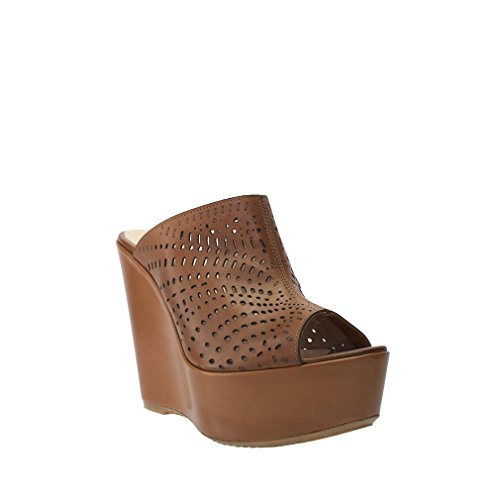 8100 Melrose Brown Leather Perforated Platform Wedge Slide Size 40 A77Dq9st