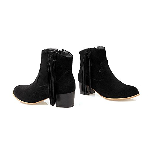 Frosted Kitten Allhqfashion Toe Zipper Round Boots Top Black Women's Closed Heels Low qwwHgI41x6