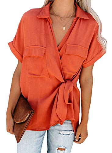 (HOTAPEI Womens Summer Casual Wrap V Neck Collared Waist Tie Basic Cuffed Sleeve Front Flap Pockets Chiffon Blouses for Women Shirts Tops Pink Small)