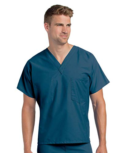 Reversible 1-Pocket Classic Relaxed Fit Durable V-neck Medical Scrub Top 7502