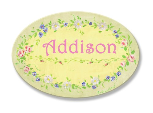 The Kids Room by Stupell Addison, Yellow with Green Floral Border Personalized Oval Wall Plaque ()