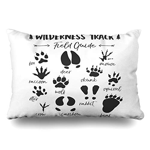 Ahawoso Throw Pillow Cover Pillowcase Kids Animal Track Nursery Woodland Room Decorative Pillow Case Home Decor Queen 20x30 Inches Cushion Case