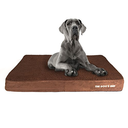 The Dog's Bed Orthopedic Dog Bed XXL Brown Plush 54x36, Premium Memory Foam, Pain Relief for Arthritis, Hip & Elbow Dysplasia, Post Surgery, Lameness, Supportive, Calming, Waterproof Washable Cover