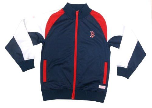 MLB Boston Red Sox Girl's Mock Neck Track Jacket, Navy, Medium (Mlb Red Sweatshirt)