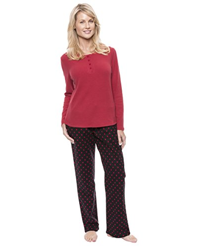 Flannel Loungewear (Noble Mount Women's Cotton Flannel Lounge Set - Dots Diva Black/Red - Large)