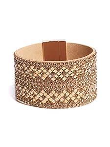 GUESS Factory Women's Geo Rhinestone Wide Cuff Bracelet