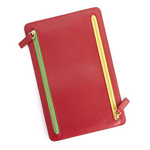 Royce Leather RFID Blocking Zippered Currency and Passport Travel Document Organizer Pouch Red