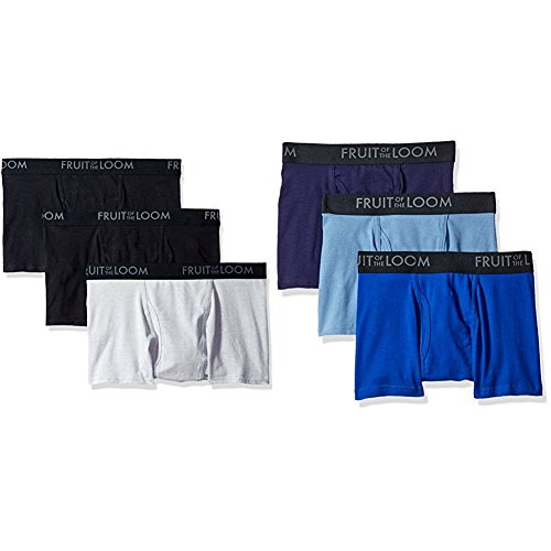 Fruit of the Loom Men's Breathable Short Leg Boxer Brief 6 Pack, Black/Gray/Blues, (Gray Boxer Shorts)